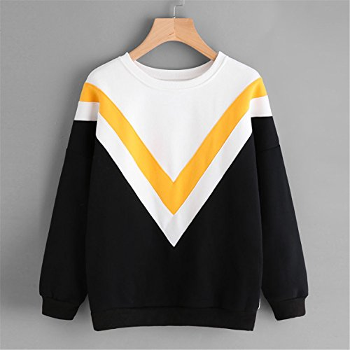 Tops Patchwork blanco amarillo 2017 Negro Con Para Sudadera Mujer Sweatshirt Otoño ❤️ Capucha Longra Larga manga Blusa azvTnxZw