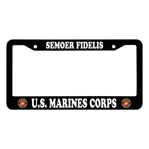 Chawuux SEMOER FIDELIS U.S. MARINES CORPS Personalized Car License Plate Frame With Logo Auto License Plate Frame, Black Popular Matte License Frame With Screw Set by Chawuux