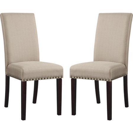 Pair of Upholstered Dining Chairs with Nail Heads, Set of 2, Comfortable Foam Seat and Back Cushion, Ideal for Dining Room, Kitchen, Living Room, Multiple Colors + Expert Guide (Wheat)