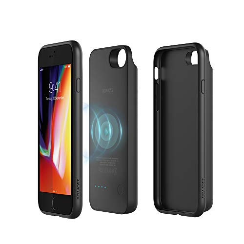 ROMOSS Qi Wireless Charging Battery Case for iPhone 8, 3450mAh 2in1 Slim Magnetic Removable Extended Protective Wireless Power Bank Compatible for iPhone 8-Black[Red Dot Design Award Winner 2018]