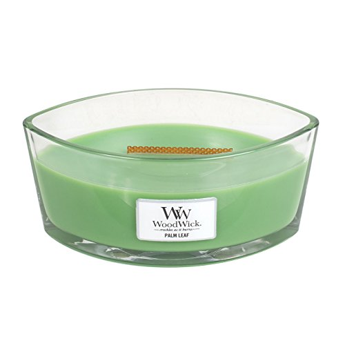 WoodWick Palm Leaf, Highly Scented Candle, Ellipse Glass Jar with Original HearthWick Flame, Large 7-inch, 16 oz