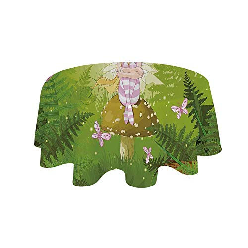 (YOLIYANA Nursery Waterproof Round Tablecloth,Magic Fairy Girl with Floral Hairstyle in Green Forest Pink Butterflies for Living Room,43.3