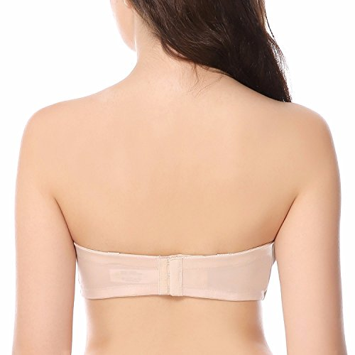 4bb3d78197dc9 Delimira Women s Underwire No Padding Ultra Support Convertible Strapless  Bra Beige 40DD