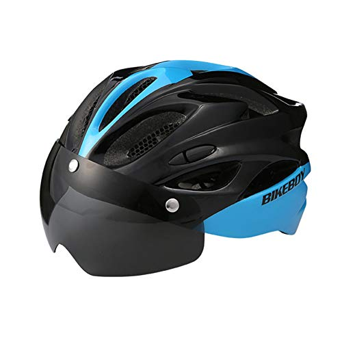 ETbotu bicycle accessories for men - bicycle tool kit,Men Women Outdoor Cycling Helmet Windproof Goggles In-mold Safety Cap Matte - black blue One size - default with a pair of gray lenses