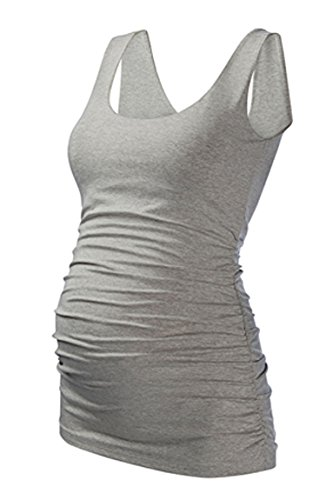 Liu & Qu Maternity Basic Tank Top Mama Clothes Neck Sleeveless Tops Women's Solid Side Ruching Vest Gray L