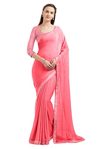 New Sourbh Women's Marble Chiffon Fancy Work Indian Saree Bollywood Dress (5538_Pink) Saree 3