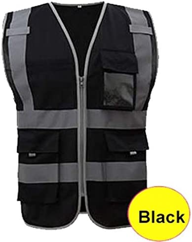 男は高い可視性安全ベスト建設ビルベスト安全服作業ベストマルチポケット用の反射ベスト (色 : 黒, サイズ : XL)