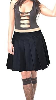 Plus Size Solid Black Schoolgirl Tartan Plaid Pleated Skirt Glenelg Plus Long