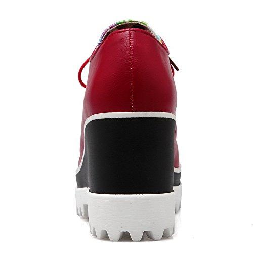 Femminile Punta Morbido Materiale Pompe Chiusa talloni Alto Lacci Rotonda Allhqfashion scarpe Rosso q5FxwSxC