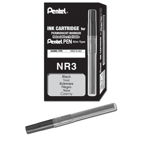 Pentel Refill Ink for Handy Lines Permanent Marker, Black Ink, Box of 12 (NR3-A) (Pentel Line Handy Pentel)
