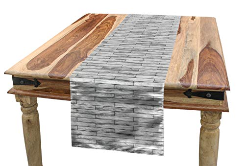 Ambesonne Taupe Table Runner, Picture of a Parquet Grey Wood Texture Rusty Retro Antique Aged Display Striped Tile, Dining Room Kitchen Rectangular Runner, 16 W X 120 L Inches, Taupe Grey