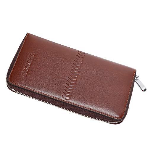 Mens Clutch Genuine Leather Handbag Organizer Checkbook Wallet Card Case by HOLYBIRD