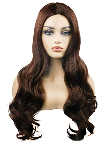 TopWigy Brown Wig for Women Long Curly Wave Synthetic Heat Resistan Side Bang Party Wig (Light Brown 26