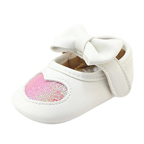 Clode® Neugeborenes Baby Boeknot Krippe weiche Sohle Prewalker Herz einzelne Schuhe Sneaker Rosa