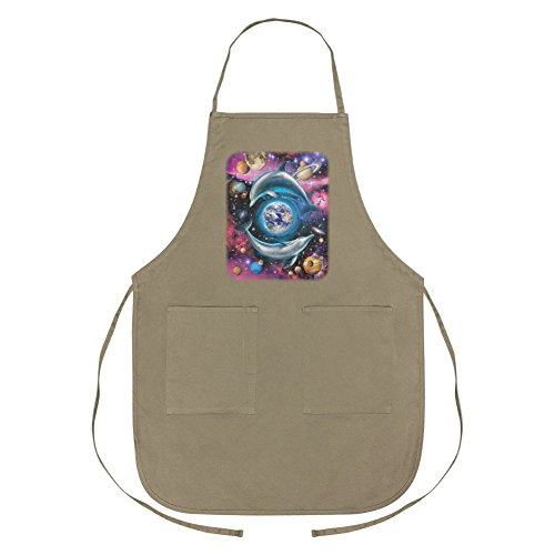 Dolphin Earth World Solar System Yin Yang Apron with Pockets by Graphics and More