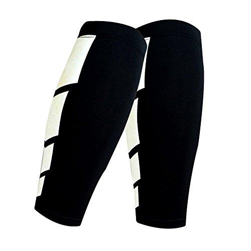 CFR Calf Compression Sleeve - Helps Shin Splints Sport Gym Support Braces Unisex Leg Socks One Pair Black,M UPS Post