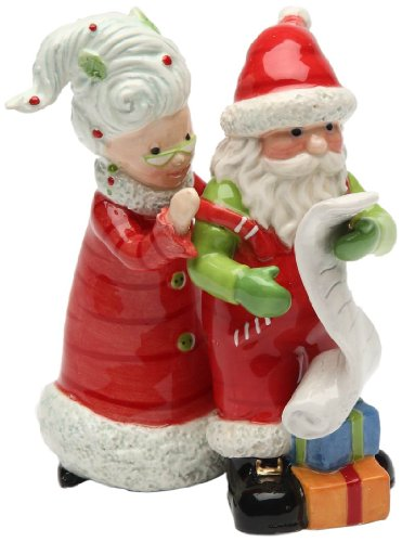 Appletree Design Naught or Nice Mrs. Claus and Santa Salt and Pepper Set, 4-Inch