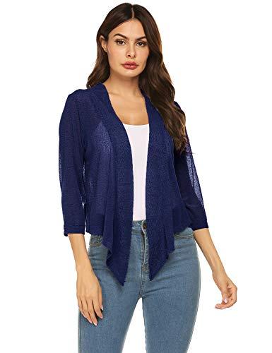 Concep Women Tie Front Chiffon Shrug Short Sleeve Cropped Sheer Bolero Shrug Cardigan (Blue, M)