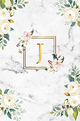 J: Cute Initial Monogram Letter J Dot Grid Bullet Notebook. Nifty Personalized Journal & Diary with Dotted Grid Pages for Girls and Women - Cute Grey Marble & Gold Floral Print