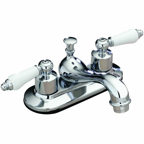 Aqualife Two Handle Bathroom Faucet with Pop-up Drain- Chrome Finish with interchangeable white or oak handles (White Handle Bathroom Faucet)