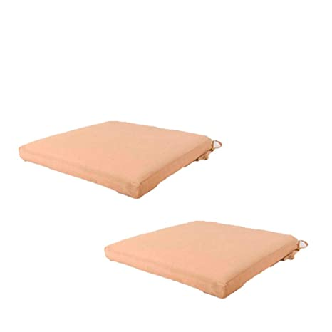 Edenjardi Pack 2 Cojines textilene para sillas de Exterior Color Arena | Tamaño 44x44x5 cm | Tela Antimanchas | Desenfundable | Portes Gratis
