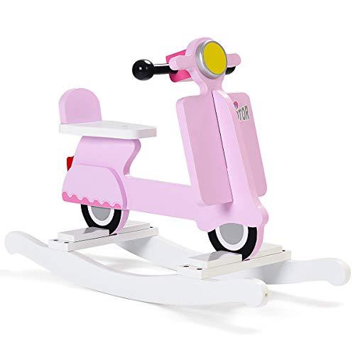 - Heize best price Pink Wooden Rocking Horse Kids Ride On Toy Toddler Motorcycle Rocker Chair Flat Seat(U.S. Stock)