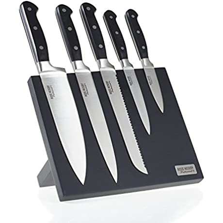 Ross Henery Professional 5 Piece Premium Stainless Steel Kitchen Knife Set On A Stylish Black Magnetic Block