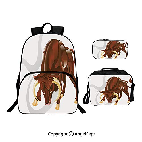 Hot Sale School Backpack For Girls 3 pcs per set,Angry Bull Birth Sign Astrology Animal Icon Cultural Western Spirituality Graphic Redwood Cream,With Lunch Box Pencil Bag Very Convinent (Toothless Target)