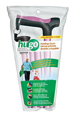 (Hugo Mobility 731-494 Adjustable Folding Cane with Reflective Strap, Rose)