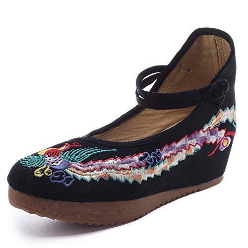 Qhome Women's Chinese Phoenix Embroidered Oxfords Rubber Sole Cheongsam Shoes Black 38 M EU