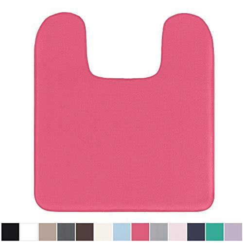 (Gorilla Grip Original Thick Memory Foam Contour Toilet Bath Rug 22.5x19.5 (Square) Cushioned, Soft Floor Mats, Absorbent Kids Bathroom Mat Rugs, Machine Wash/Dry, Plush Bath Room Carpet (Hot Pink))