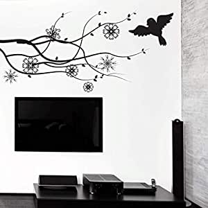 Walliv Decals Floral Vines With Beautiful Bird Islamic Wall Arts [or11]