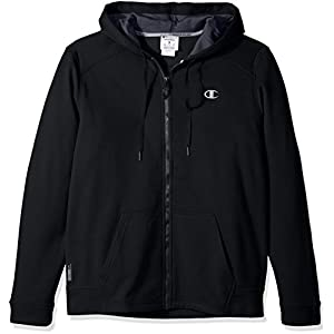 Champion Men's Performance Fleece Full Zip Hoodie, Black/Stealth, Large