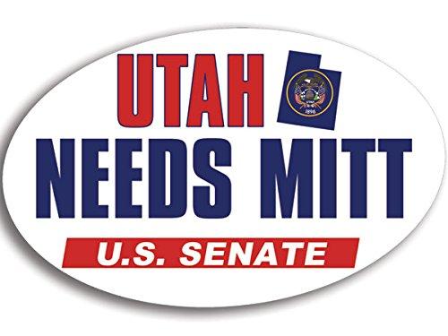Oval UTAH NEEDS MITT US Senate Bumper Sticker (romney conservative senator)