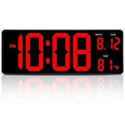DreamSky 14.5 Inches Extra Large LED Digital Clock with Date and Indoor Temperature Display, Oversized Desk Office Wall Clock with Fold Out Stand, Large Number Display, Auto DST Time Change