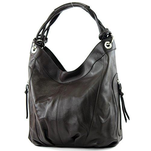 modamoda de - ital. Ledertasche Damenhandtasche Schultertasche Leder + Nappaleder Z18 Dunkelbraun