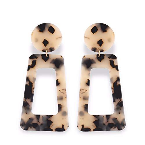 (QERSHI Earrings Stud Earring Pendant Korean Fashion New Rectangular Geometric Acrylic Leopard Earrings Female Temperament Simple Earrings Earrings, Light Color)