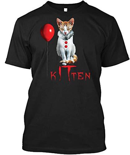 Kitten Clown Scary Fun Spooky Halloween Cat Funny Joke Design T-Shirts for Women Men Girl Boys Cute
