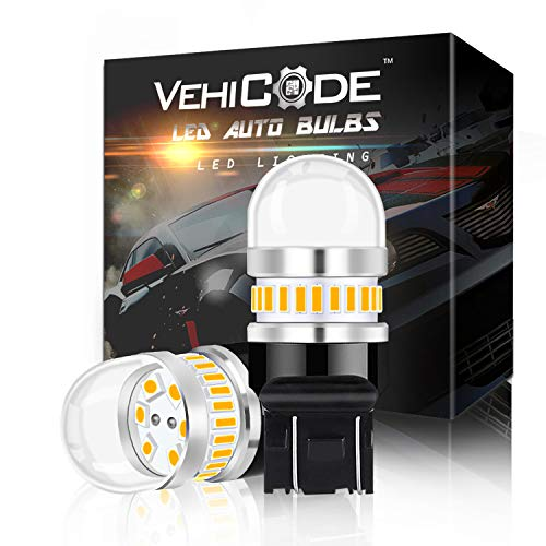VehiCode Super Bright 950Lms 7443 Dual Contact LED Light Bulb (3000K Amber Yellow) Kit - 7440 7441 7444 T20 992 W21W WY21W LED Replacement for Car Turn Signal Light Blinker ()