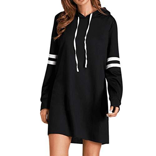 - KASAAS Womens Casual Stripes Long Sleeve Hoodie Drawstring Long Solid Sweatshirt Jumper Pullover Mini Dress(10, Black)