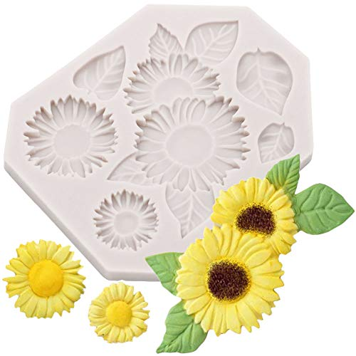 Sunflower Cake Decorations (SOOKOO Flower Cake Fondant Mold, Sunflower Silicone Candy Making Tray, Flower Chocolate Sugarcraft Baking Tool DIY Cake Silicone Mold Cake)