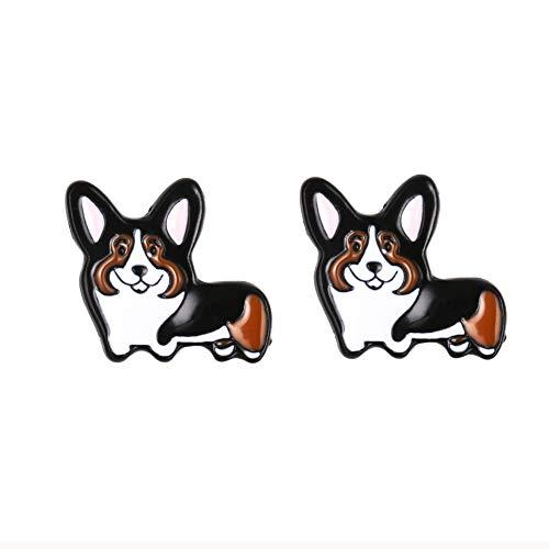 (Daisies Pembroke Welsh Corgi Puppy Shaped Enamel Stud Earrings For Women)