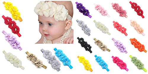 Price comparison product image FEITONG 17PC Baby Newborn Toddler Elastic Headband Chiffon Flower Photography Headbands ( B)