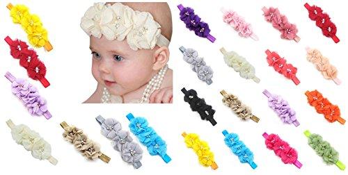Price comparison product image FEITONG 17PC Baby Newborn Toddler Elastic Headband Chiffon Flower Photography Headbands (#B)