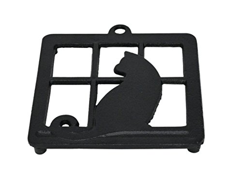 Halloween Window Silhouettes Cat Eyes (Home-X Cast Iron Trivet, Square Trivet with Single Cat in)