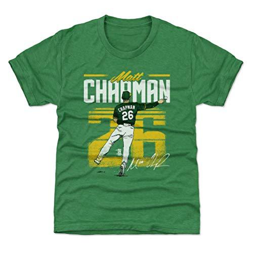 500 LEVEL Oakland Baseball Youth Shirt - Kids Small (6-7Y) Heather Kelly Green - Matt Chapman Retro Y WHT