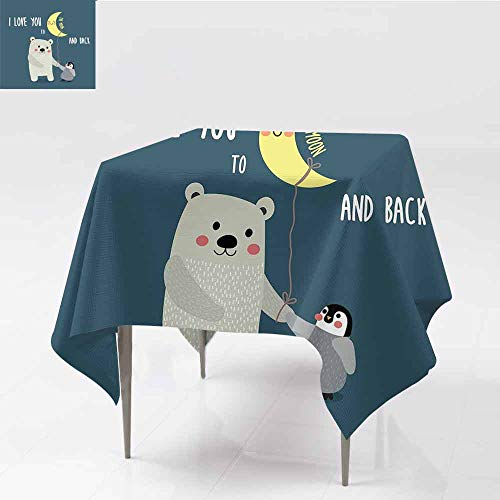 Jbgzzm I Love You Waterproof Tablecloth Teddy Bear and Penguin Friends Arctic Valentines Under Moon Cartoon for Kitchen Dinning Tabletop Decoration W60 xL60 Slate Blue Grey Yellow