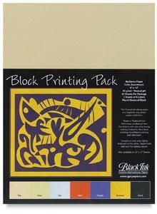 Black Ink Thai Mulberry Block Printing Paper Packs small assorted (Thai Mulberry Block Printing Paper)