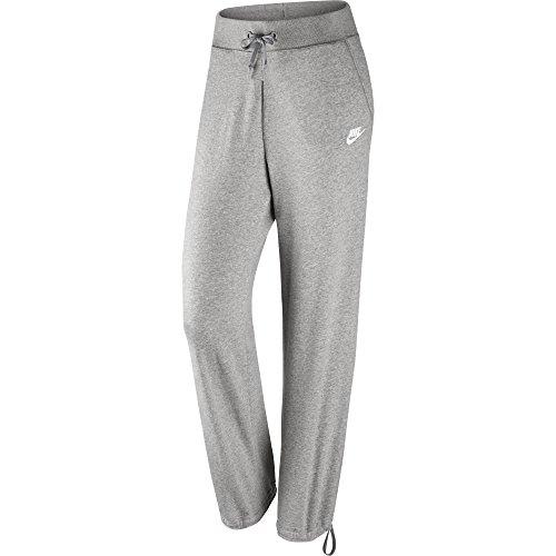 NIKE Womens Sportswear Drawstring Cuff Pants, Dark Grey Heather/Matte Silver/White, Medium