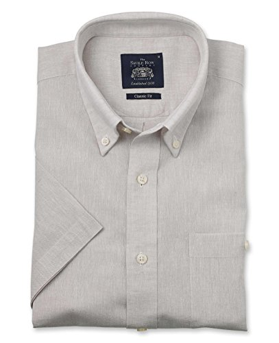 Savile Row Men's Stone Linen-Blend Classic Fit Button-Down Short Sleeve Casual Shirt XXXL ()